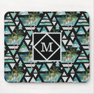 Abstract Geometric Palms & Waves Pattern Mouse Pad