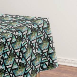 Abstract Geometric Palms & Waves Pattern Tablecloth