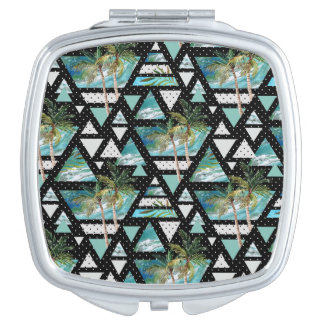 Abstract Geometric Palms & Waves Pattern Travel Mirror