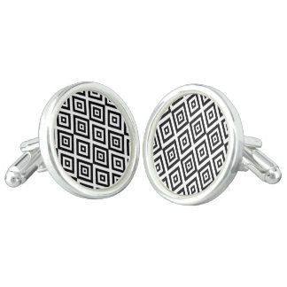 Abstract geometric pattern - black and white. cuff links