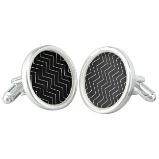 Abstract geometric pattern - black and white. cufflinks