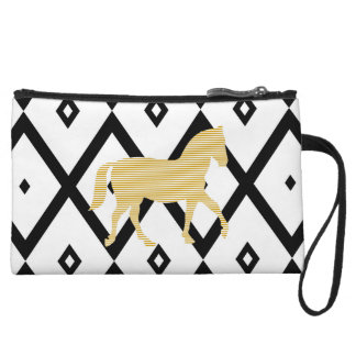 Abstract geometric pattern - black - beige horse. wristlet
