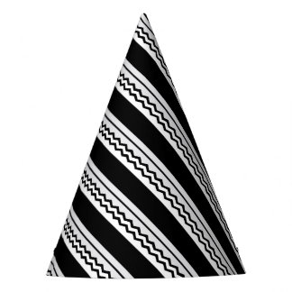 Abstract geometric pattern - black, gray, white. party hat