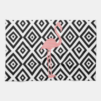 Abstract geometric pattern - black - pink flamingo kitchen towel