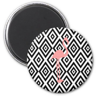 Abstract geometric pattern - black - pink flamingo magnet