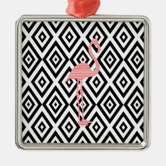Abstract geometric pattern - black - pink flamingo metal ornament