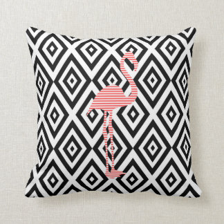 Abstract geometric pattern - black - pink flamingo throw pillow