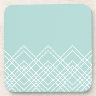 Abstract geometric pattern - blue and white. coaster