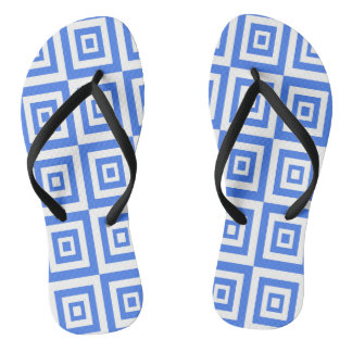 Abstract geometric pattern - blue and white. flip flops