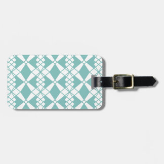 Abstract geometric pattern - blue and white. luggage tag