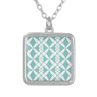 Abstract geometric pattern - blue and white. silver plated necklace