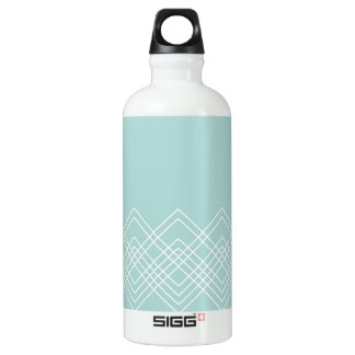 Abstract geometric pattern - blue and white. water bottle