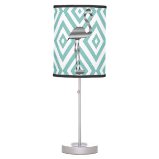 Abstract geometric pattern - blue - flamingo table lamp
