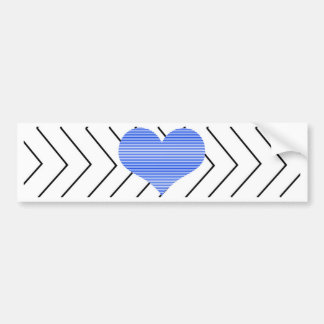 Abstract geometric pattern - blue heart - zigzag bumper sticker