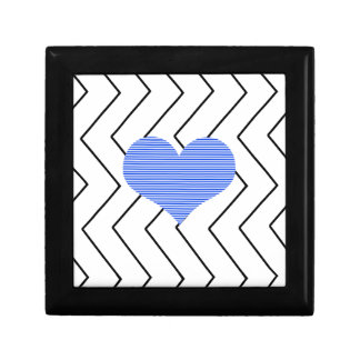 Abstract geometric pattern - blue heart - zigzag gift box
