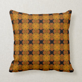 Abstract Geometric Pattern : : Brown And Orange Throw Pillow