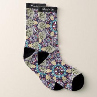 Abstract Geometric Pattern custom name socks