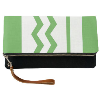 Abstract geometric pattern - green and white. clutch