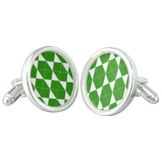 Abstract geometric pattern - green and white. cuff links