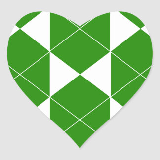 Abstract geometric pattern - green and white. heart sticker