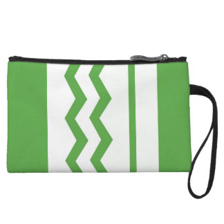 Abstract geometric pattern - green and white. wristlet