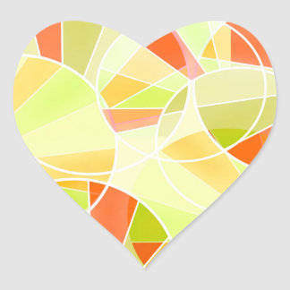 Abstract geometric pattern heart sticker