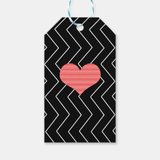 Abstract geometric pattern - heart - zigzag - blac gift tags