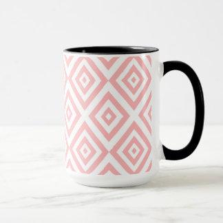 Abstract geometric pattern - pink and white. mug