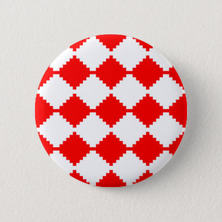 Abstract geometric pattern - red and white. 2 inch round button