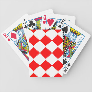 Abstract geometric pattern - red and white. bicycle playing cards