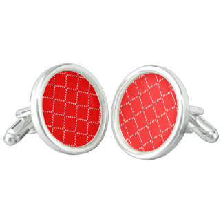 Abstract geometric pattern - red and white. cufflinks