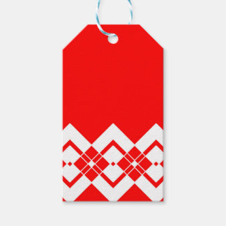 Abstract geometric pattern - red and white. gift tags