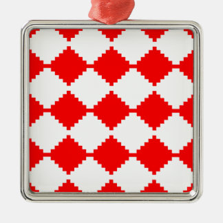 Abstract geometric pattern - red and white. metal ornament