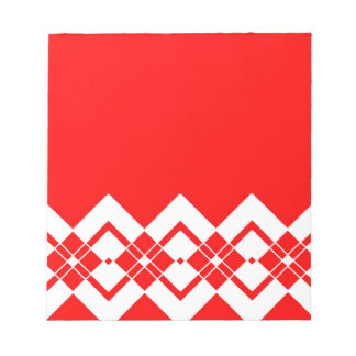 Abstract geometric pattern - red and white. notepad