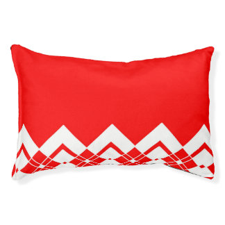 Abstract geometric pattern - red and white. pet bed