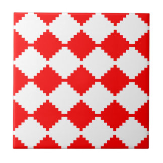 Abstract geometric pattern - red and white. tile