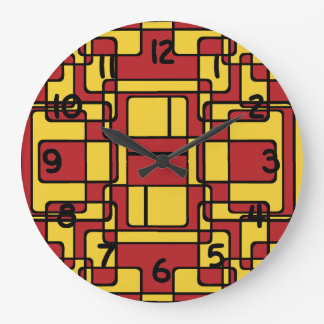 Abstract Geometric Pattern Red and Yellow Large Clock