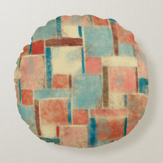 Abstract Geometric Round Throw Pillow
