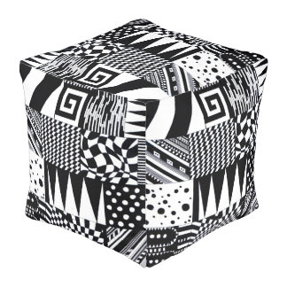 abstract geometric shapes black white pattern hand pouf
