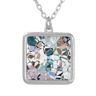 Abstract Geometric Shapes Silver Plated Necklace