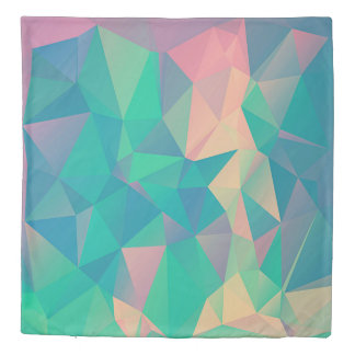 Abstract Geometric Triangles Shapes Green Blue Duvet Cover