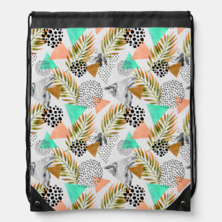 Abstract Geometric Tropical Leaf Pattern Drawstring Bag