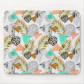 Abstract Geometric Tropical Leaf Pattern Mouse Pad