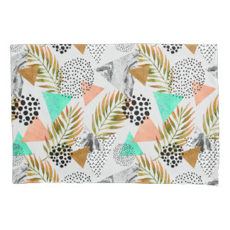 Abstract Geometric Tropical Leaf Pattern Pillowcase