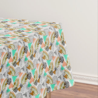 Abstract Geometric Tropical Leaf Pattern Tablecloth