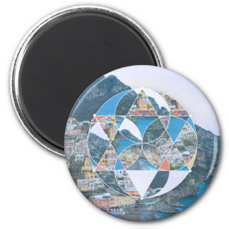 Abstract Geometric Village 2 Inch Round Magnet