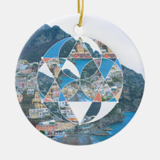 Abstract Geometric Village Ceramic Ornament