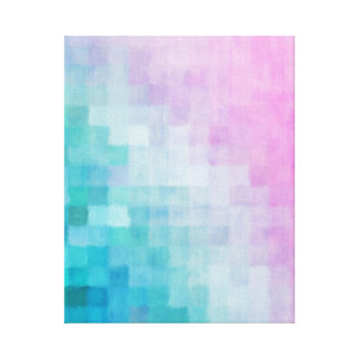 Abstract Geometric Watercolor Squares Pink Aqua Canvas Print