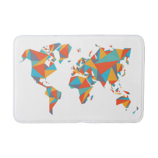 Abstract Geometric World Map Bathroom Mat