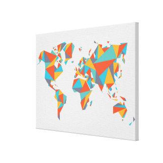 Abstract Geometric World Map Canvas Print